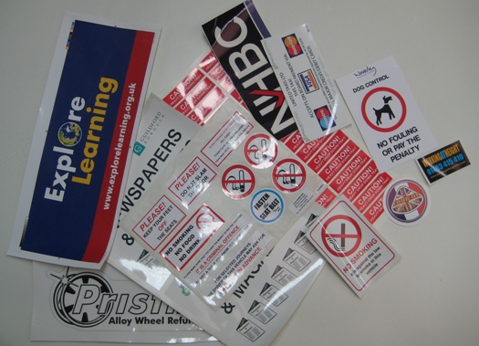 SELECTION OF LABELS AND STICKERS