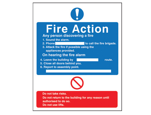 Fire action notices to suit many different situations