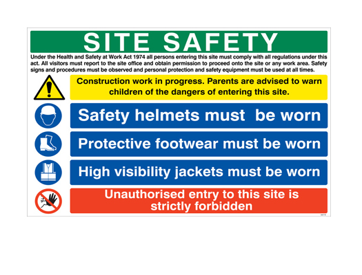 STANDARD SITE SAFETY NOTICES or PERSONALISED WITH YOUR COMPANY NAME