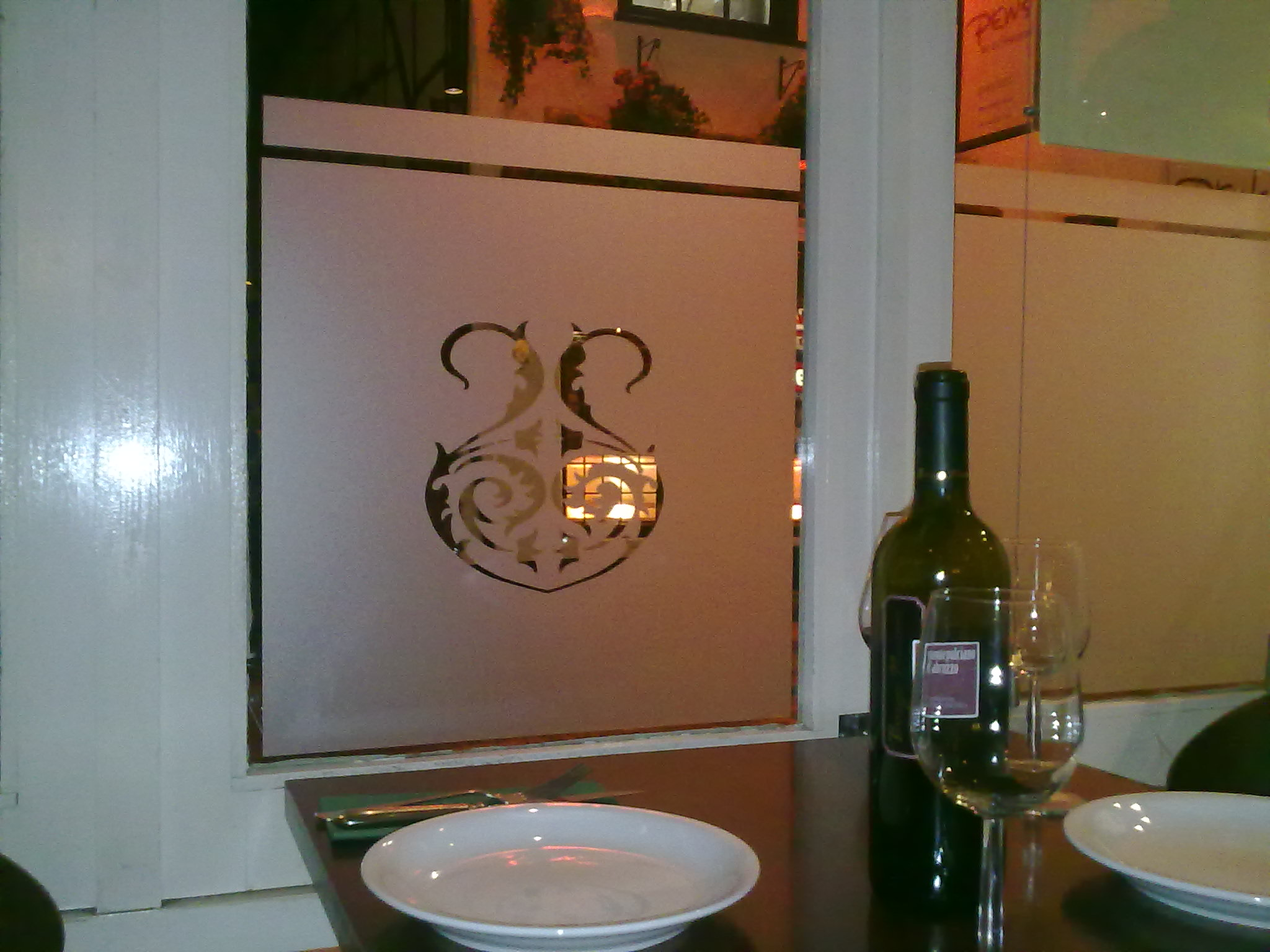 Etched glass effect to provide privacy and interest