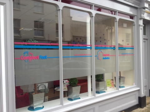 Simple text applied to shop windows