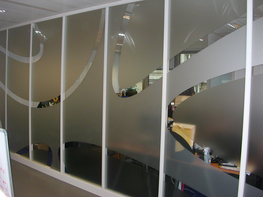 Etched glass effect to create partitioning