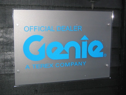 Company Name plate.  Self Adhesive graphics to the front with etched glass effect to the back